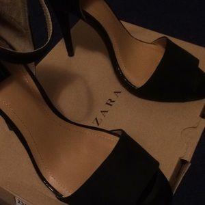 Zara Black Suede High Heel Peep Toe Shoes